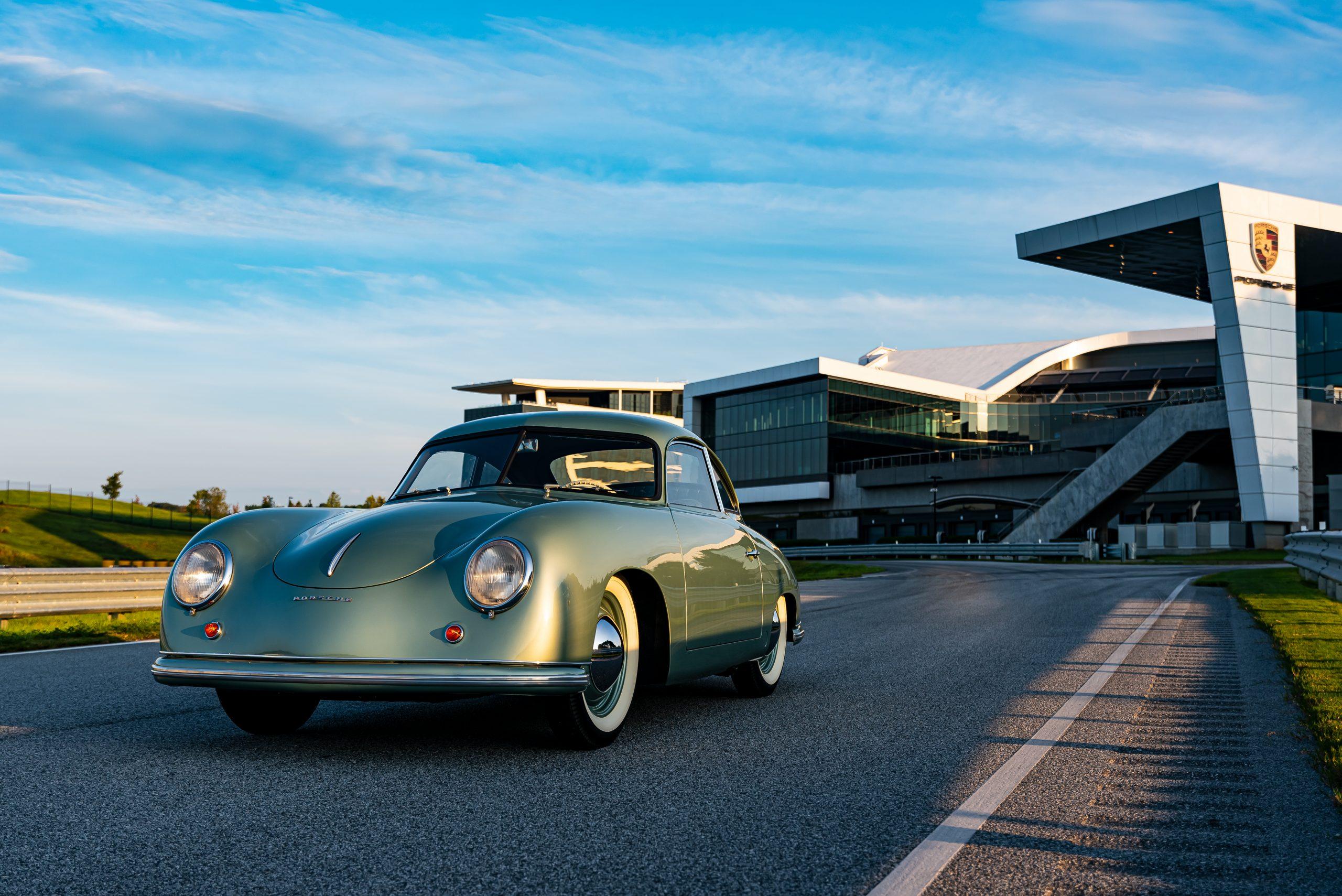 1950 porsche 356 1-1-liter coupe in radium green front three-quarter