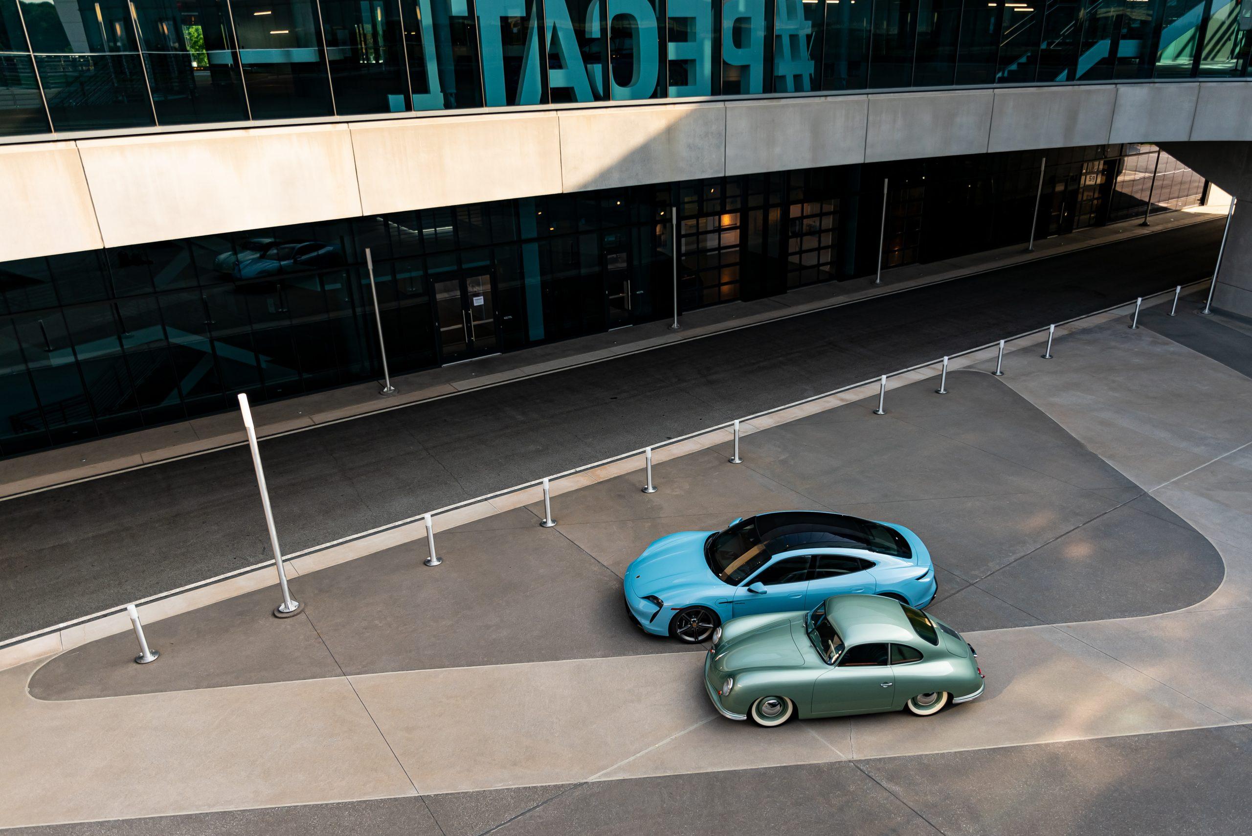1950 porsche 356 1-1-liter coupe in radium green with 2020 porsche taycan turbo s