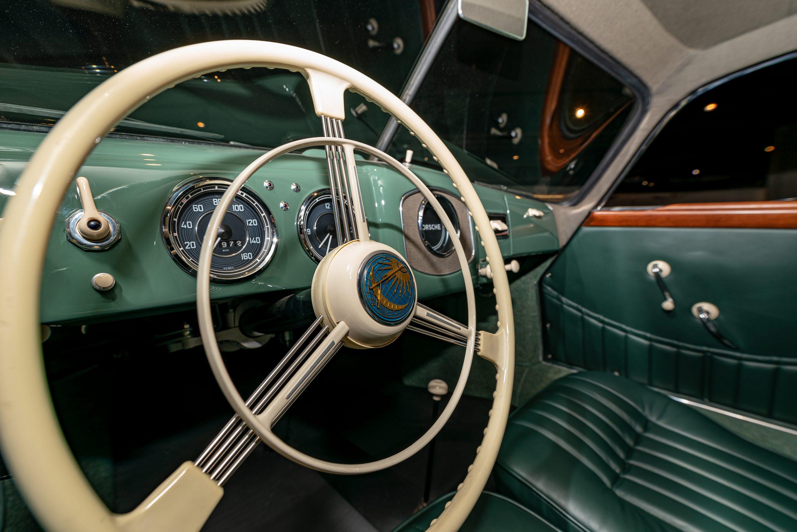 1950 porsche 356 1-1-liter coupe in radium green interior
