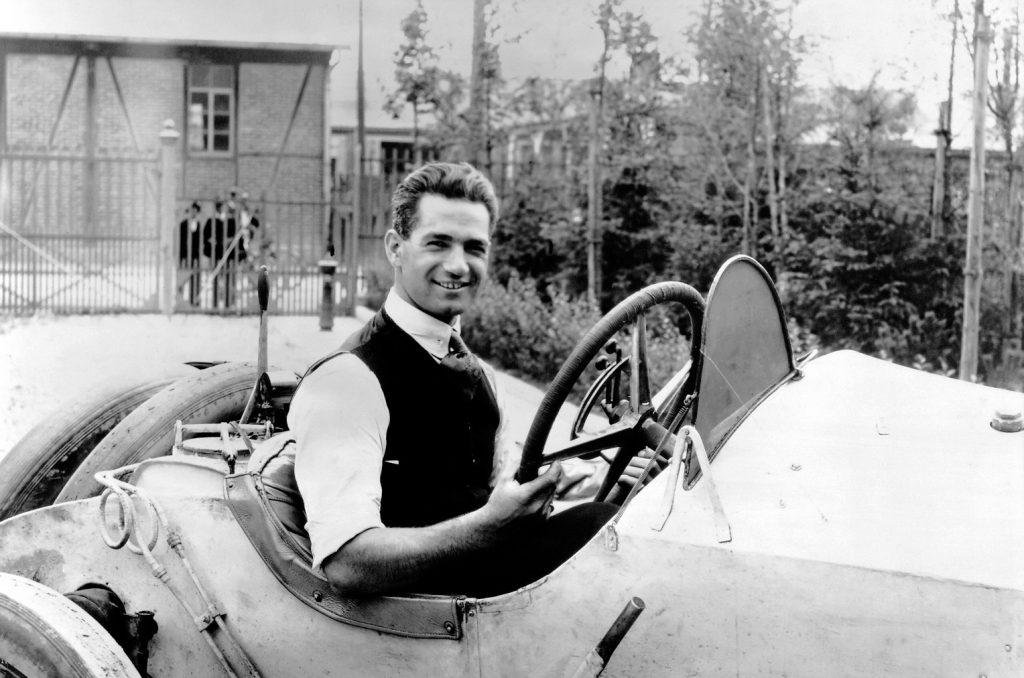 Ralph de Palma portrait behind the wheel