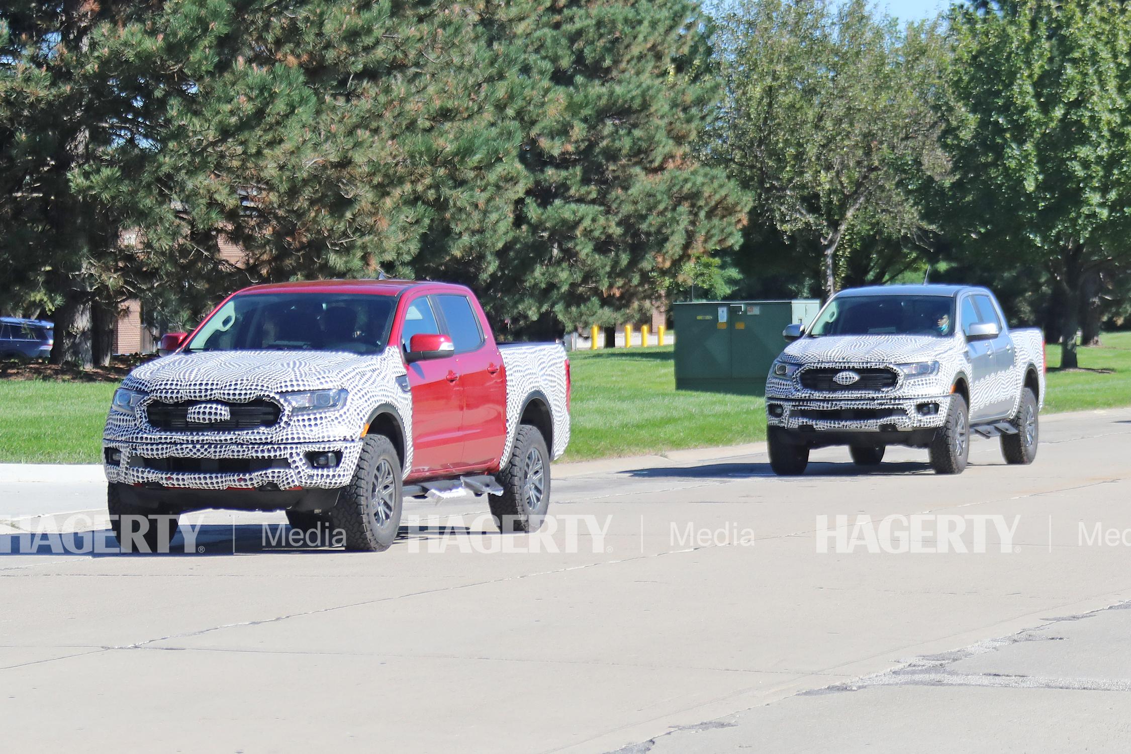 ford ranger tremor spy photo two trucks front three-quarter