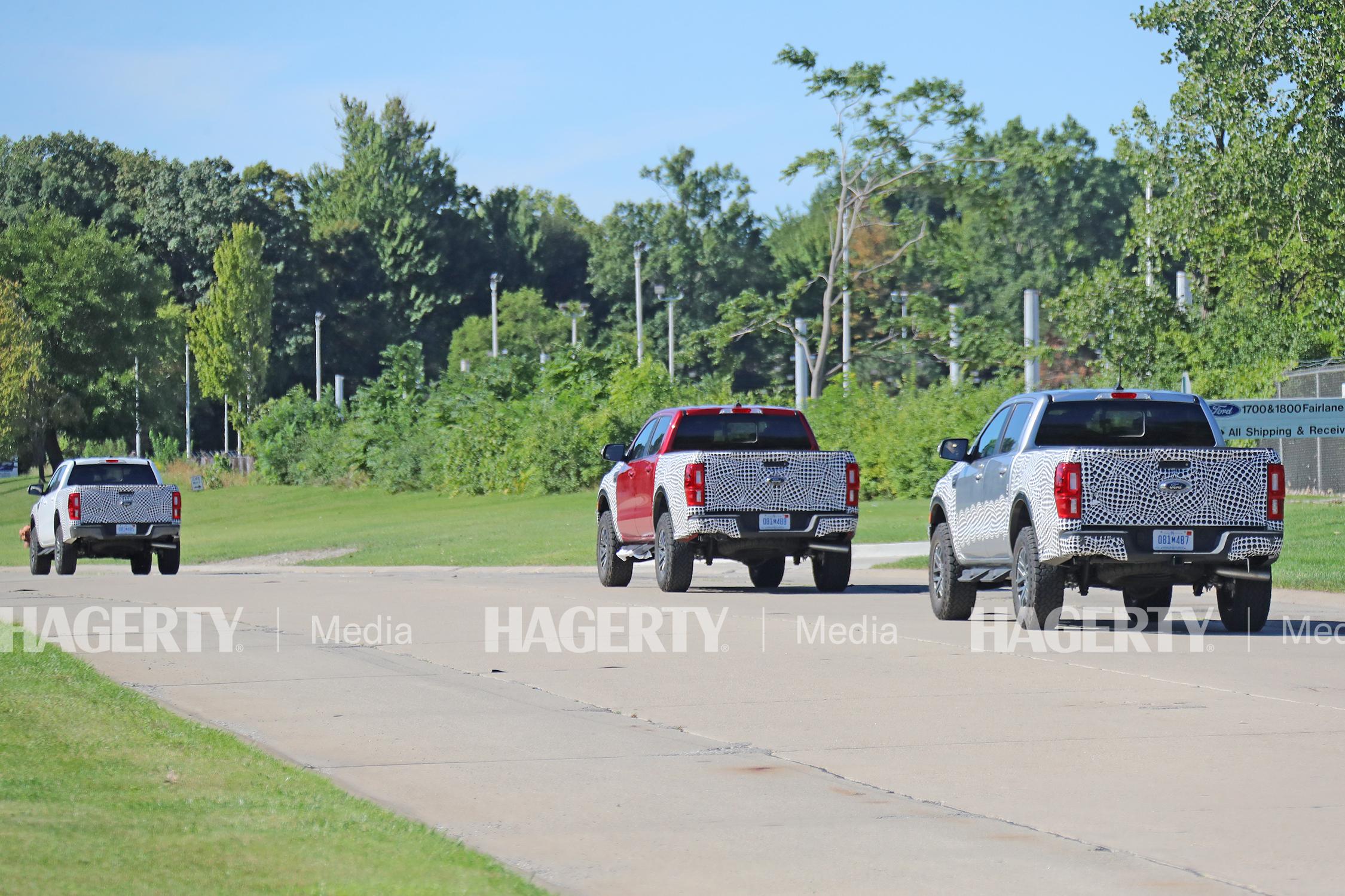 ford ranger tremor spy photo three trucks rear three-quarter