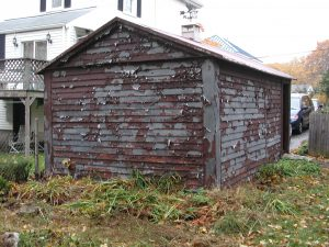 old garage exterior chipping paint