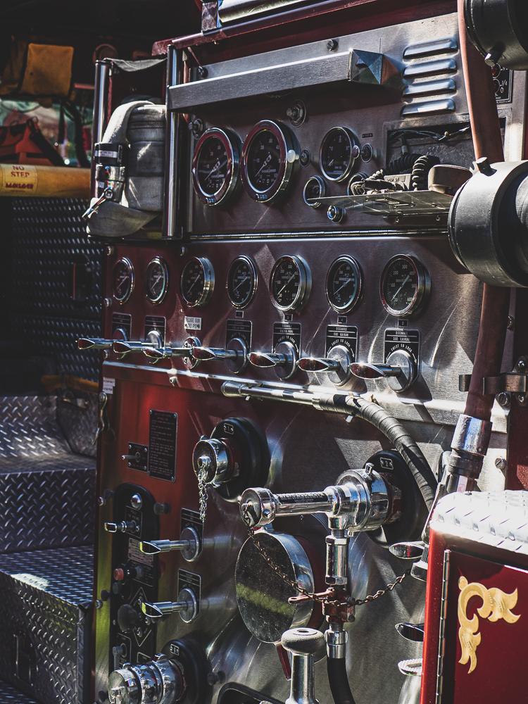 vintage firetruck exterior control panel