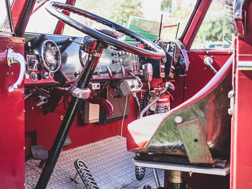 vintage firetruck cab interior front