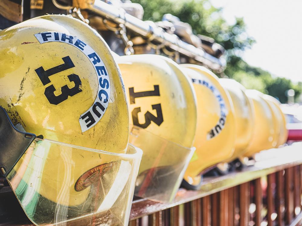 vintage firetruck fire rescue helmets