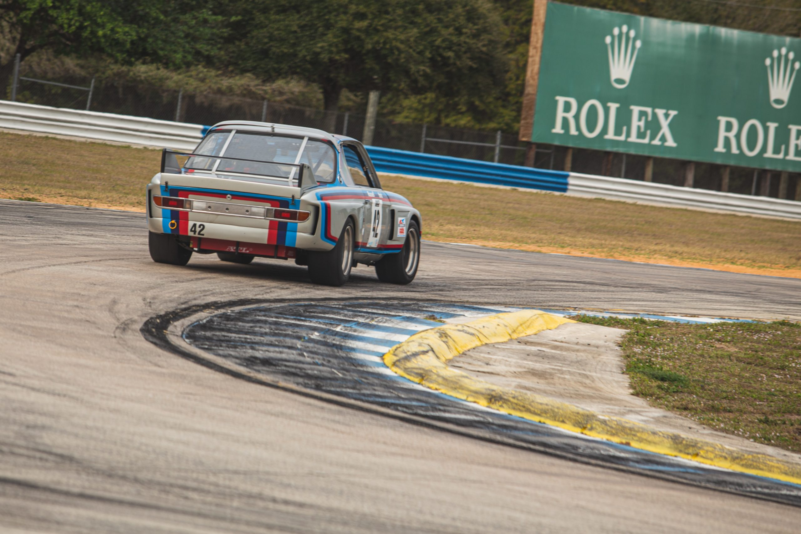 Sebring BMW 3.0 CSL Batmobile track driving