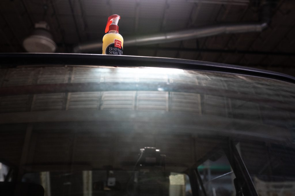 grios spray wax bottle on roof