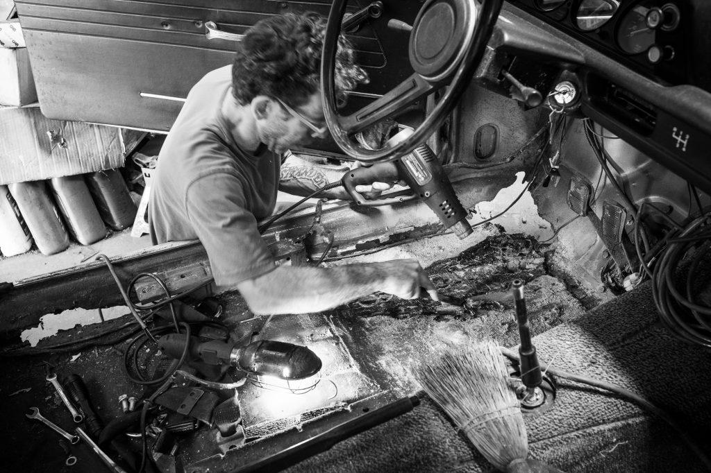 heat gun on bmw 2002 restoration project floor pan