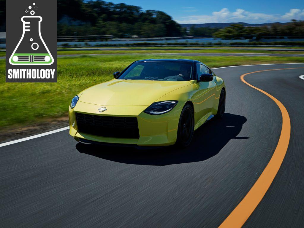 Smithology Nissan Proto Z front three-quarter dynamic action