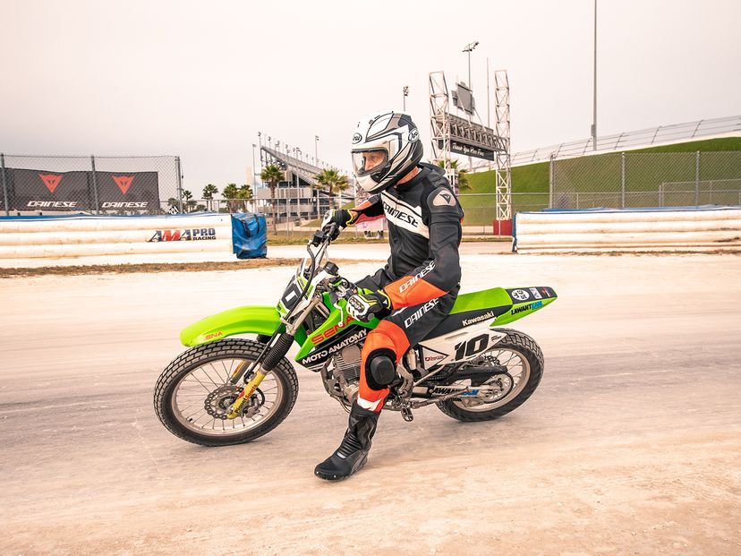 American Flat Track rider dynamic action