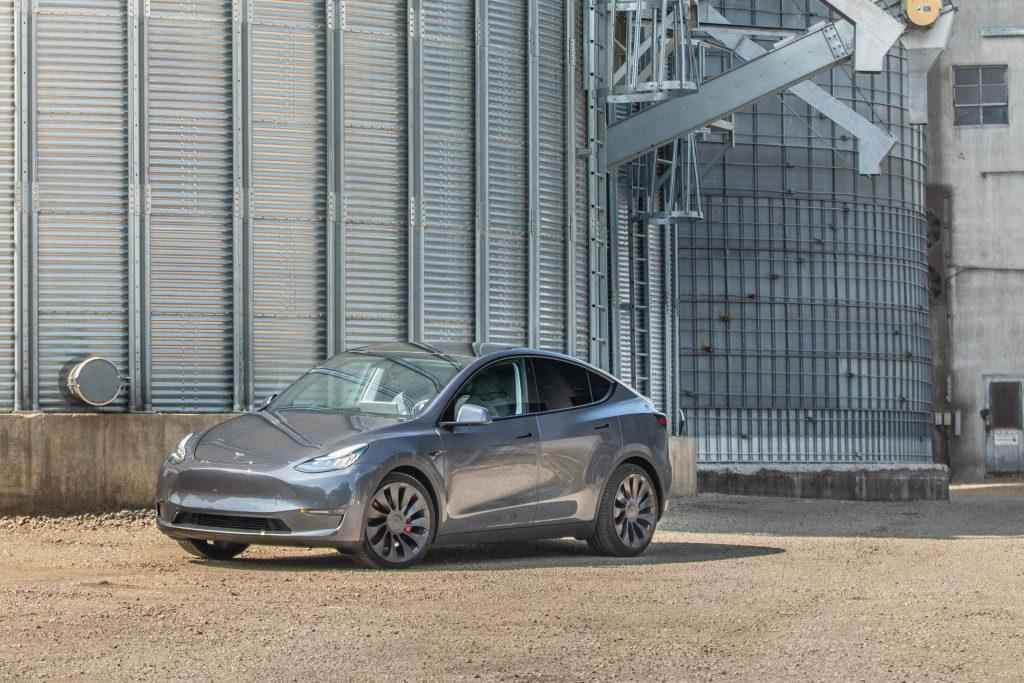 Tesla Model Y front three-quarter silos