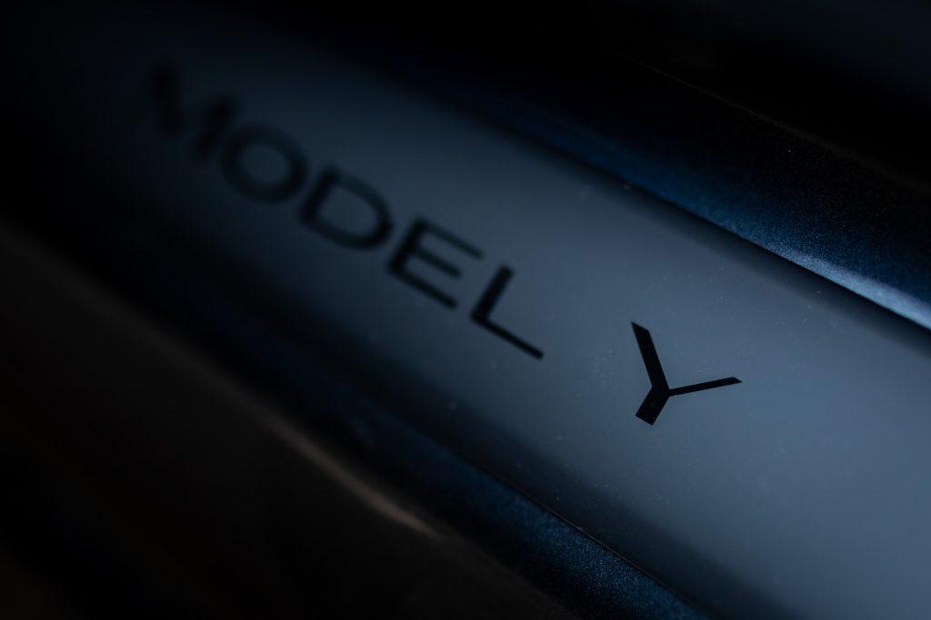 Tesla Model Y inscription lettering