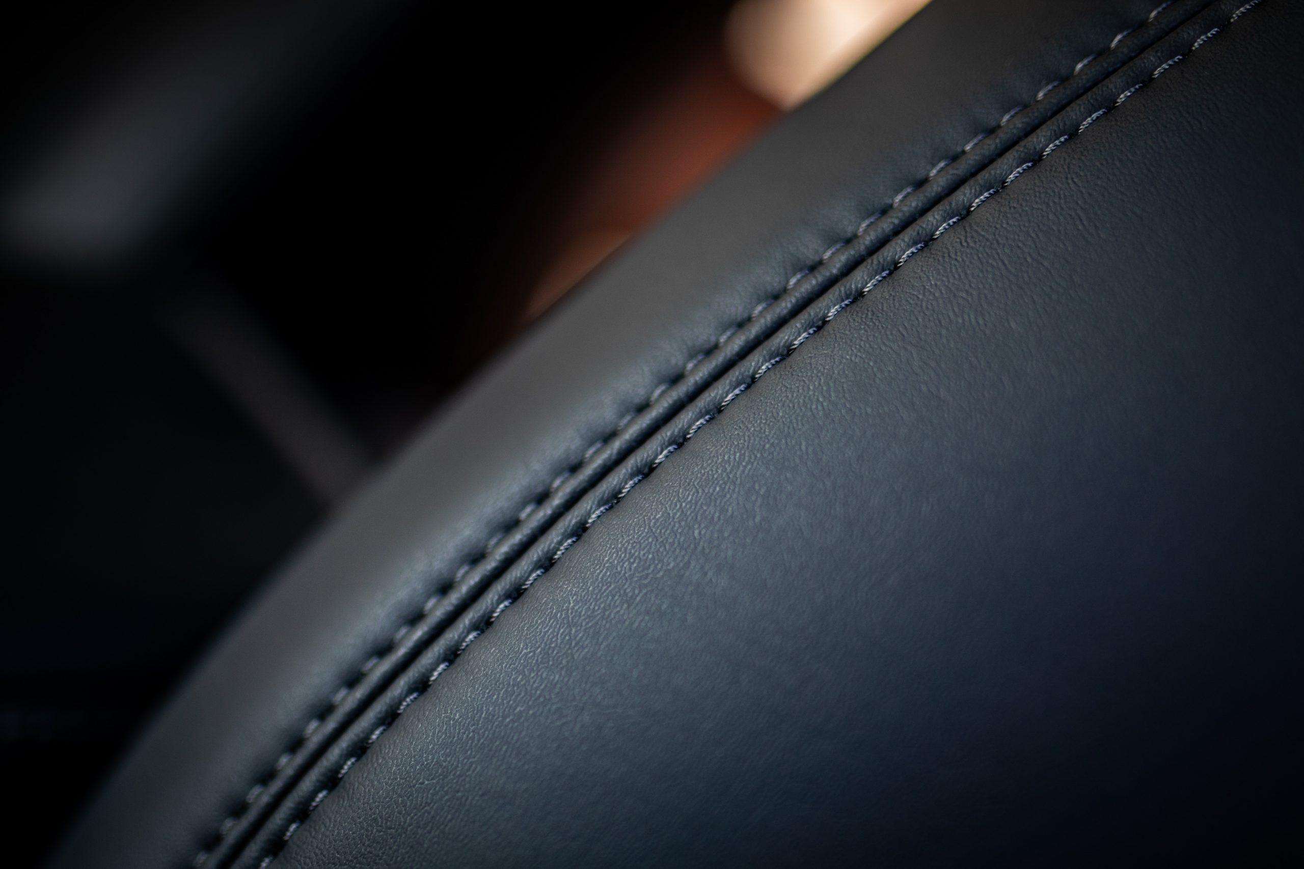 Tesla Model Y leather seat stitching detail