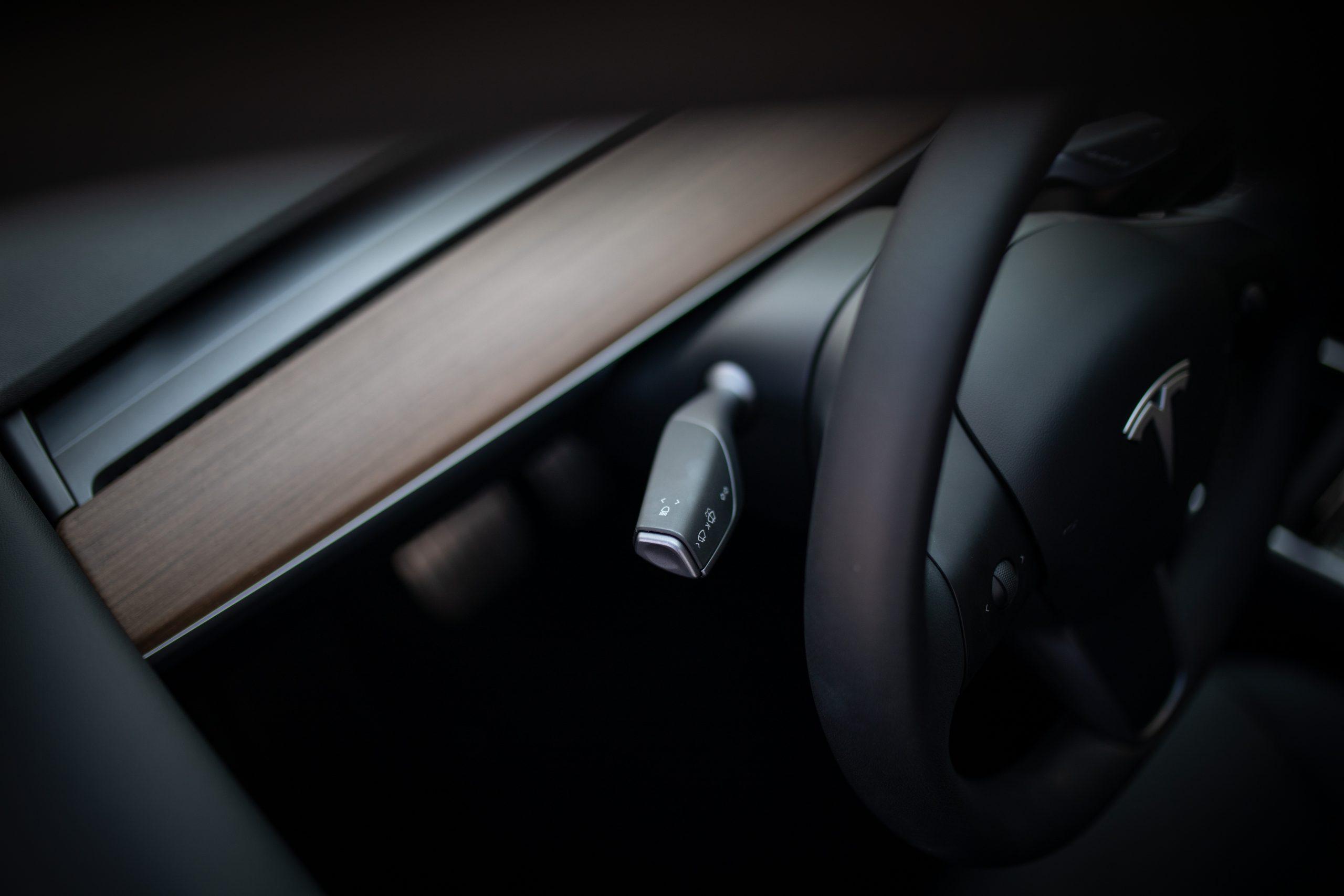 Tesla Model Y steering wheel light selector detail