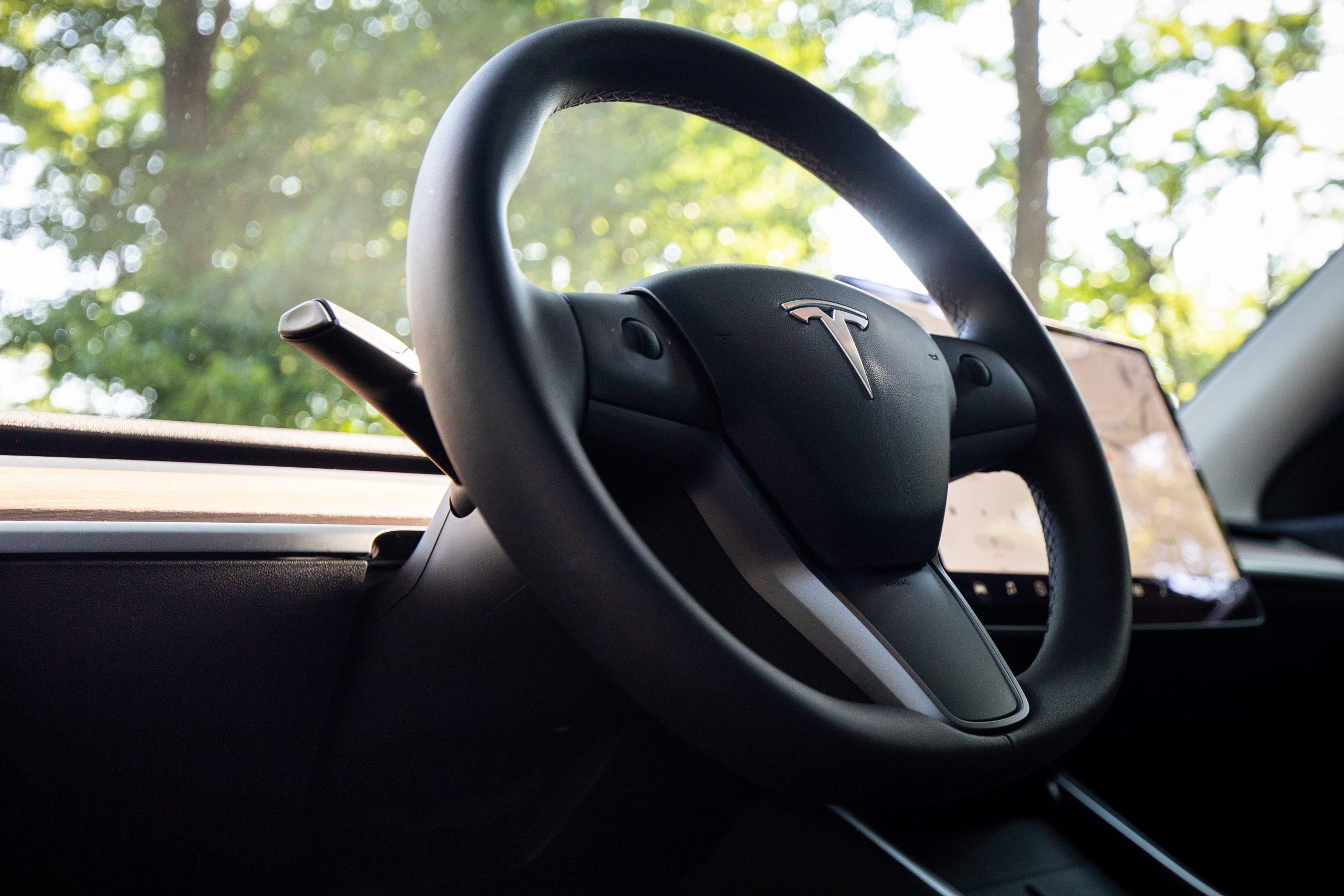 Tesla Model Y steering wheel detail