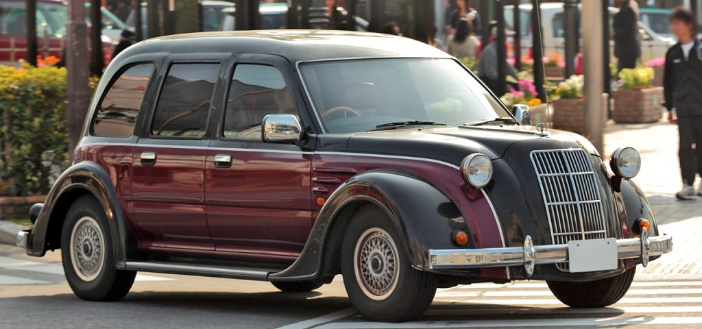 toyota classic two-tone sedan front three-quarter