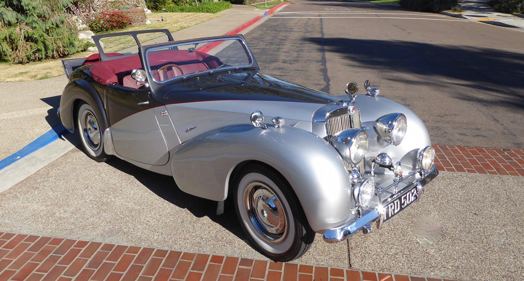 restored triumph roadster front three-quarter