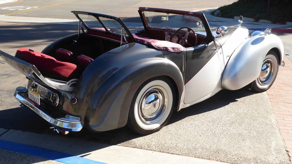 restored triumph roadster rear three-quarter