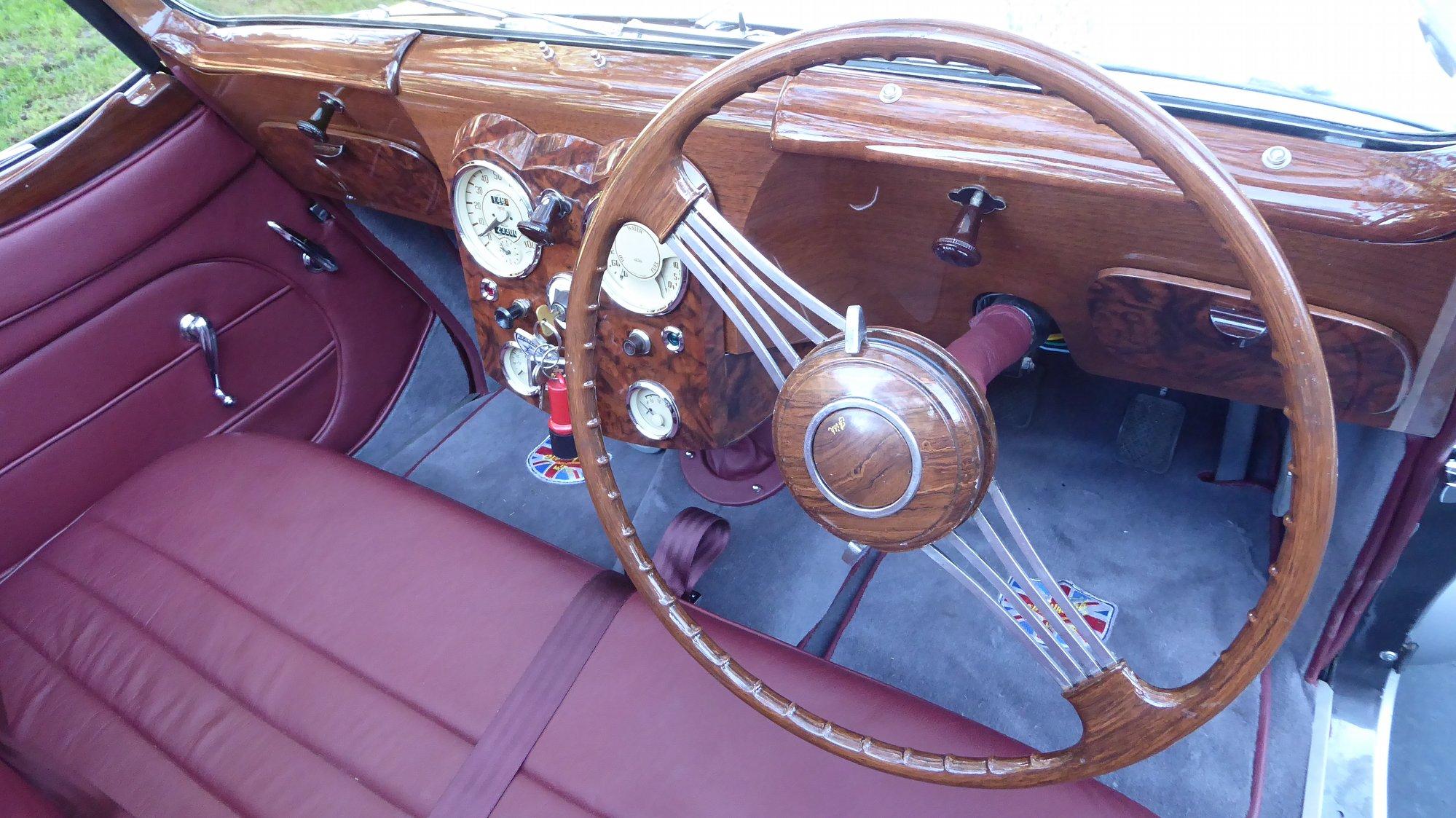 restored triumph roadster interior steering wheel