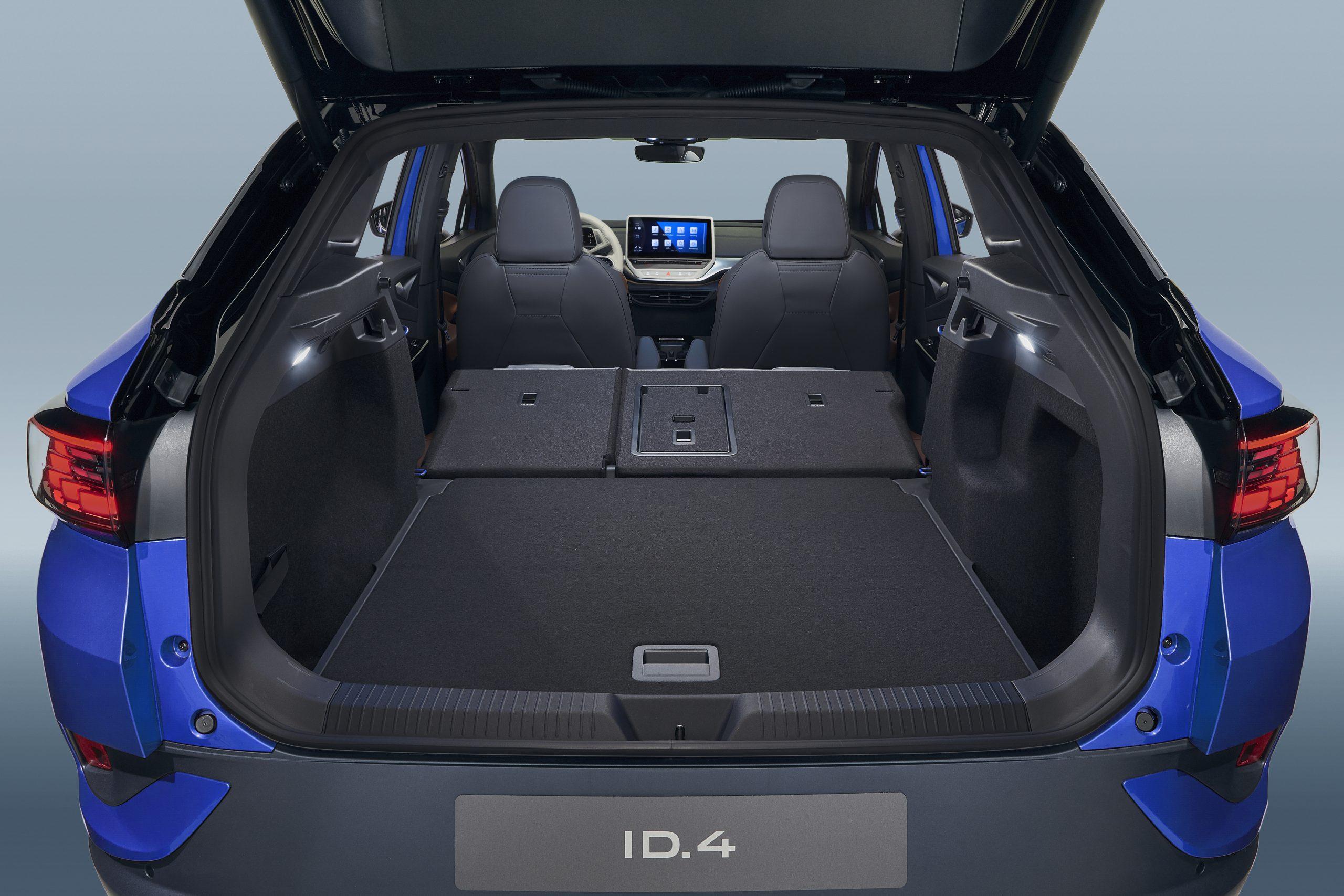 DB2020A2021 VW ID.4 electric SUV rear cargo hatch trunk seats folded