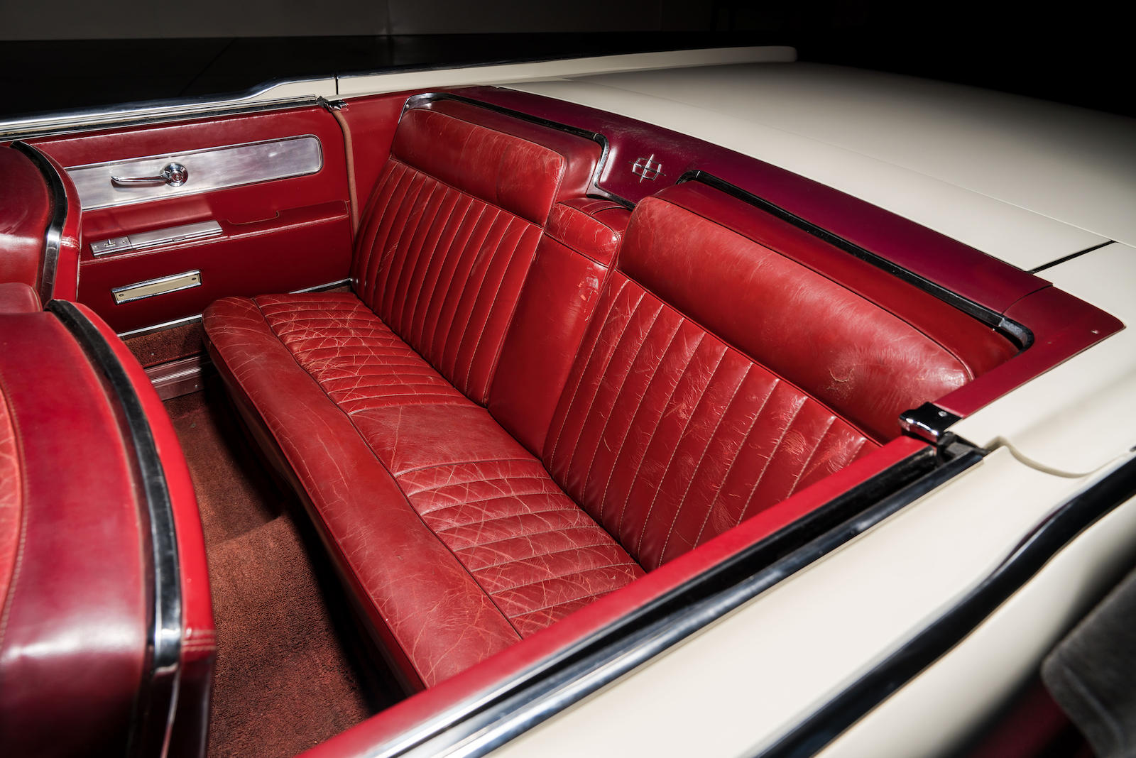 White 1963 Lincoln Limo One continental rear seat