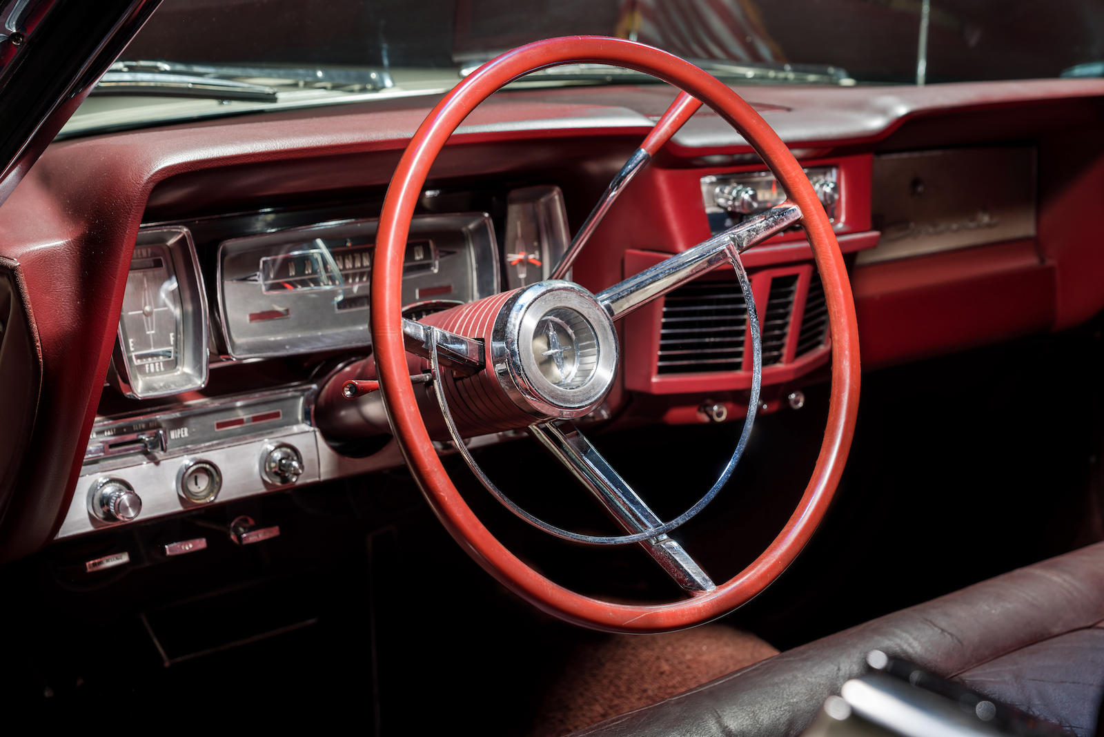 White 1963 Lincoln Limo One continental interior steering wheel