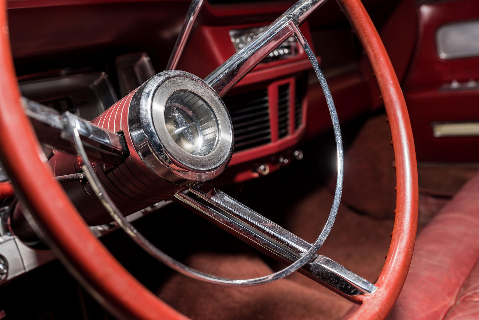 White 1963 Lincoln Limo One continental steering wheel detail