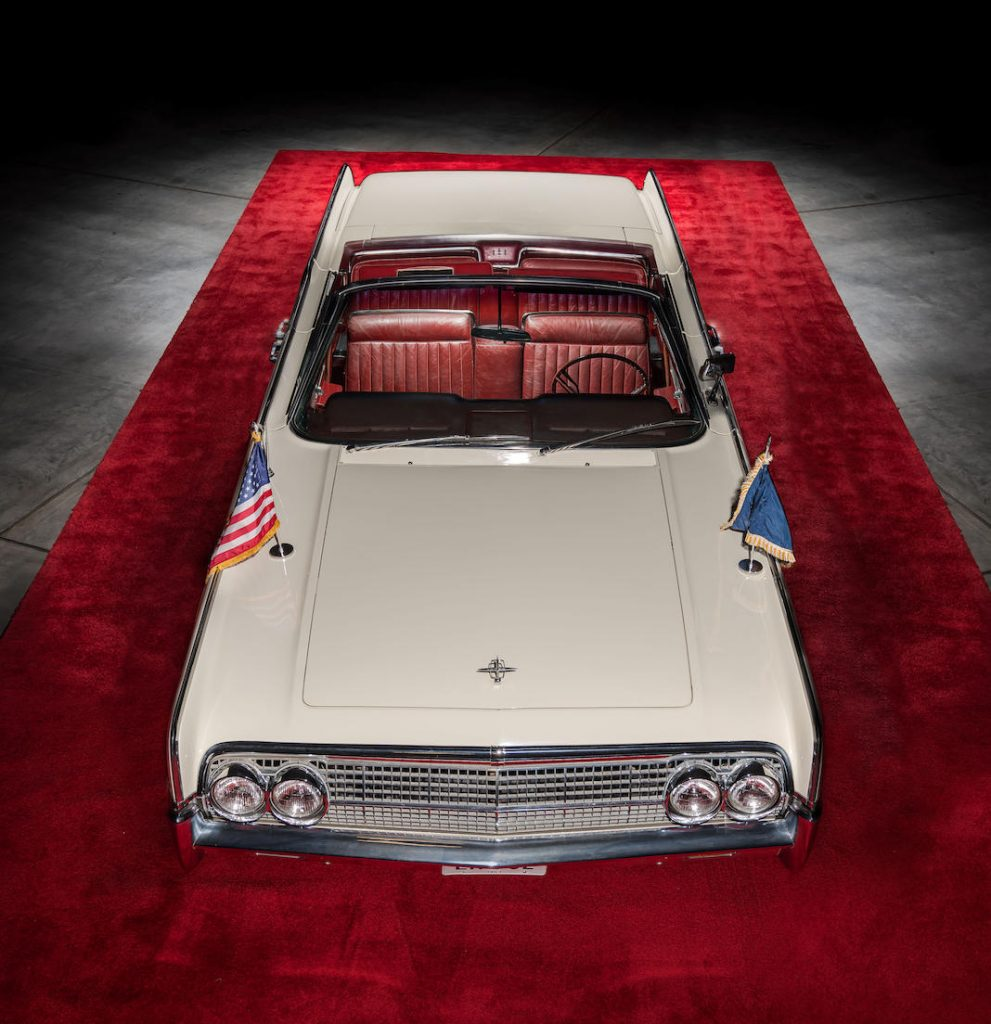 White 1963 Lincoln Limo One continental overhead front vertical