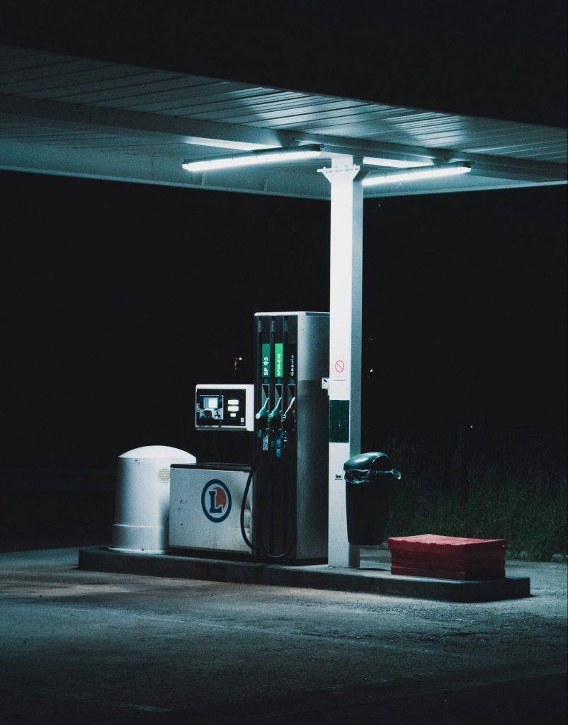 dim lit gas pump