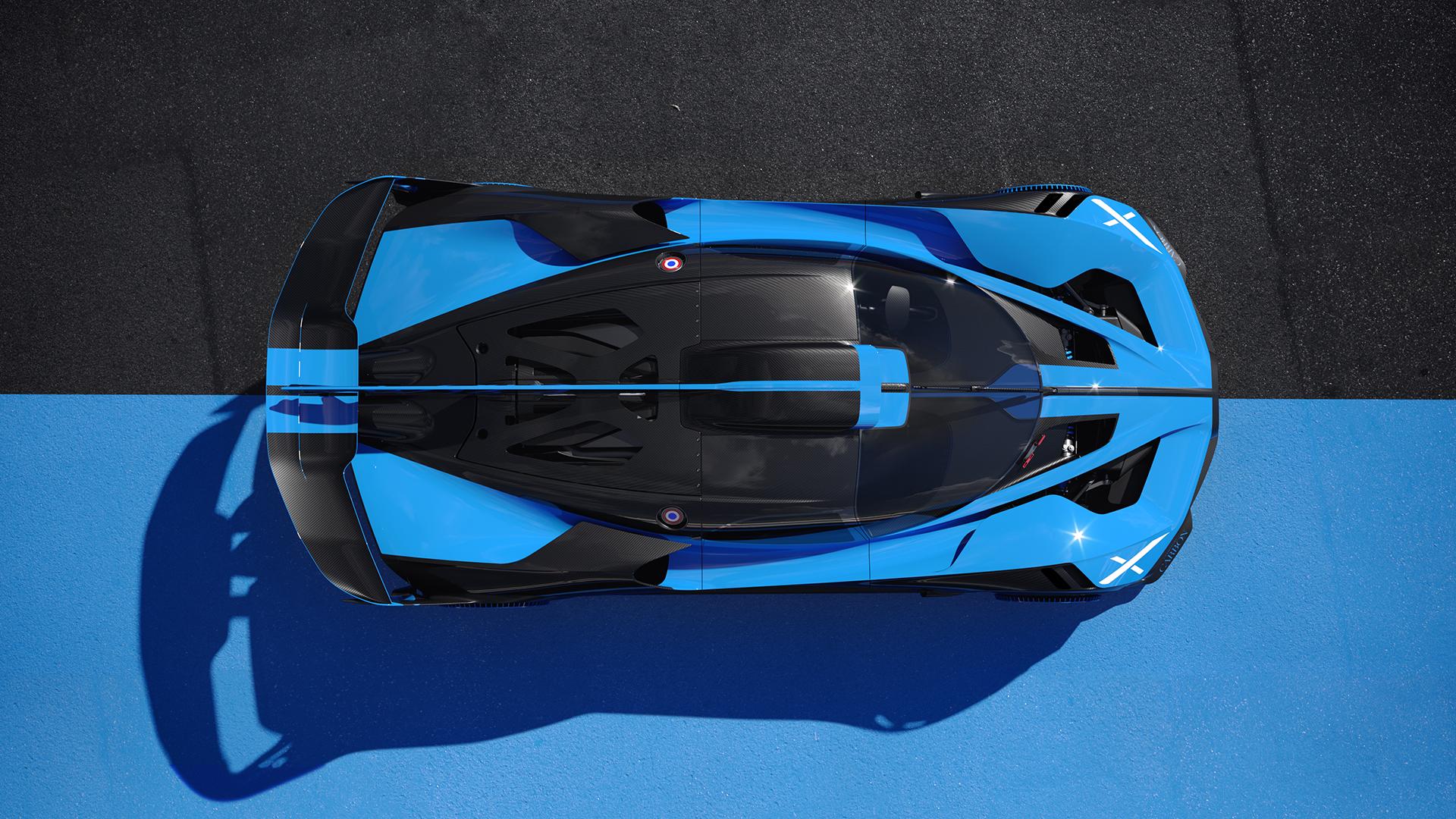 Bugatti bolide overhead birds eye