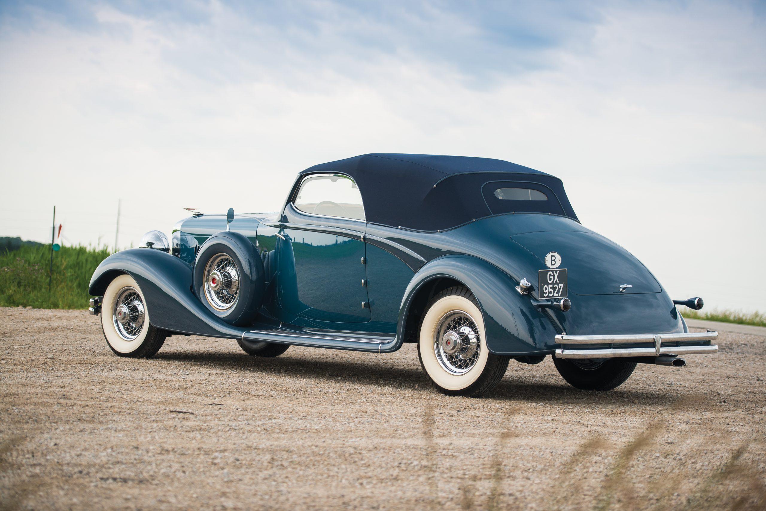 vintage duesenberg model j rear three-quarter
