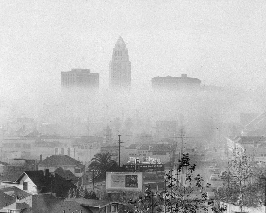 Smog In Los Angeles city hall skyline