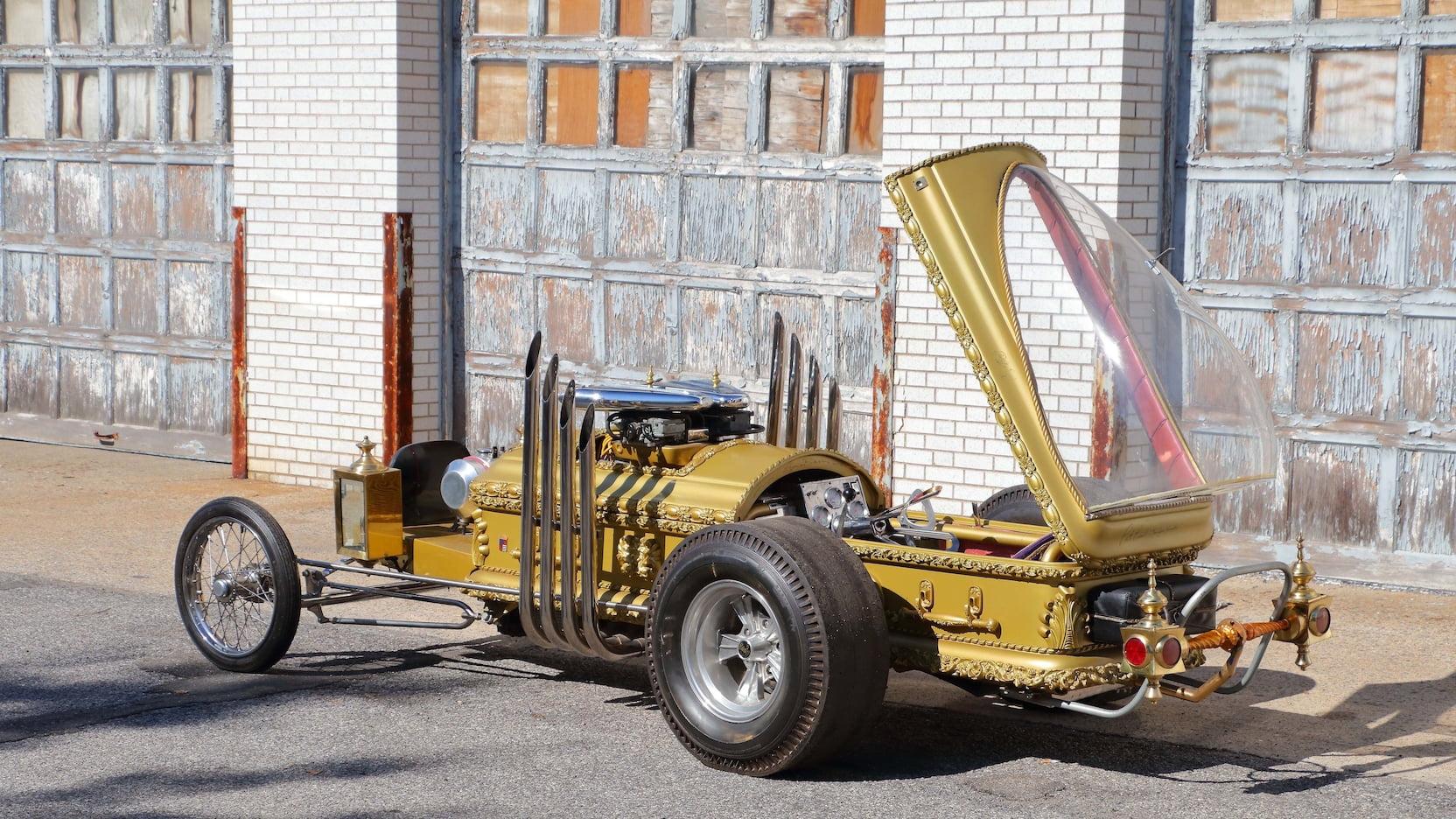 1964 DRAG-U-LA custom movie car rear three-quarter coffin raised