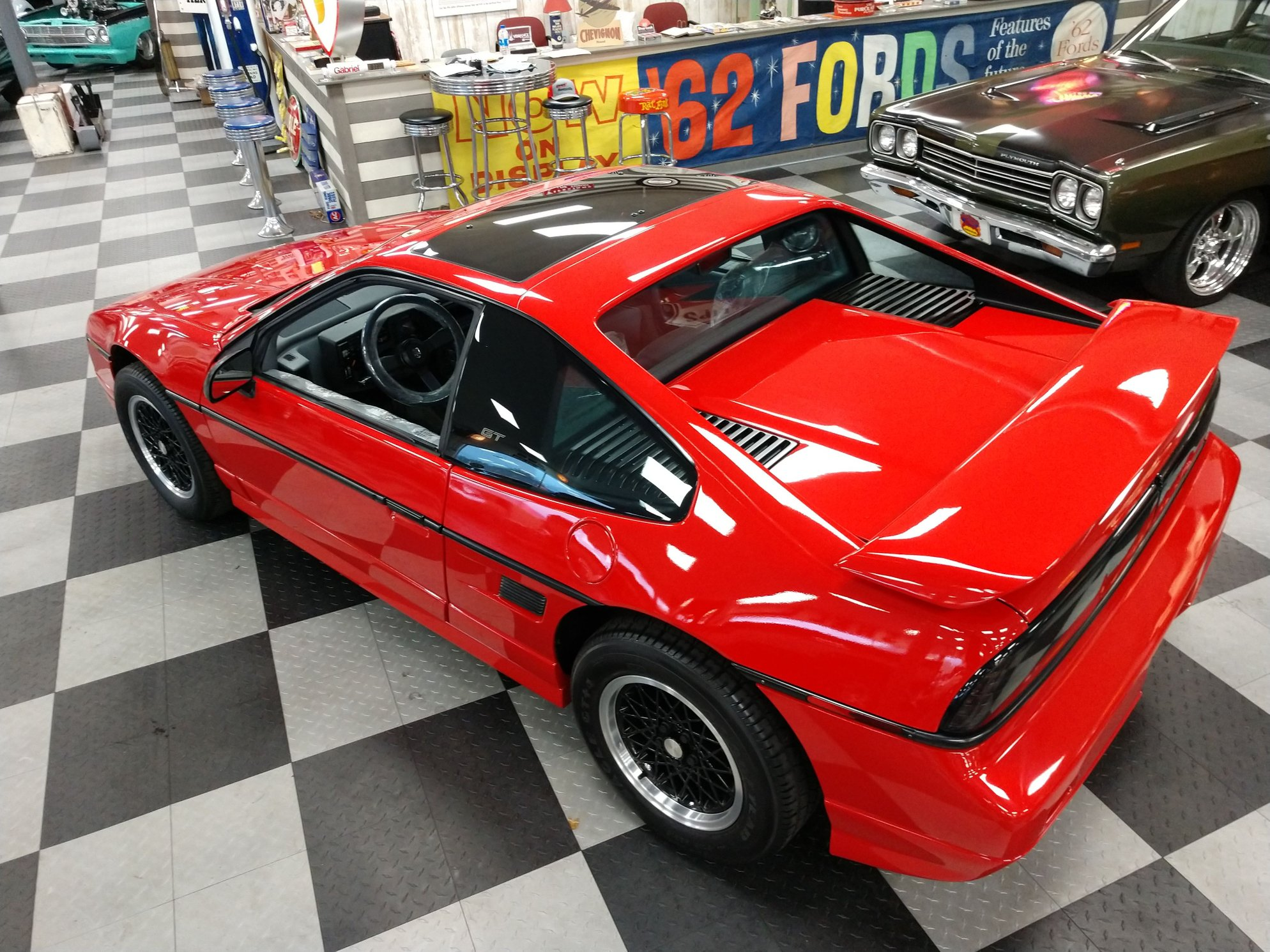 1988 pontiac fiero gt overhead rear three-quarter