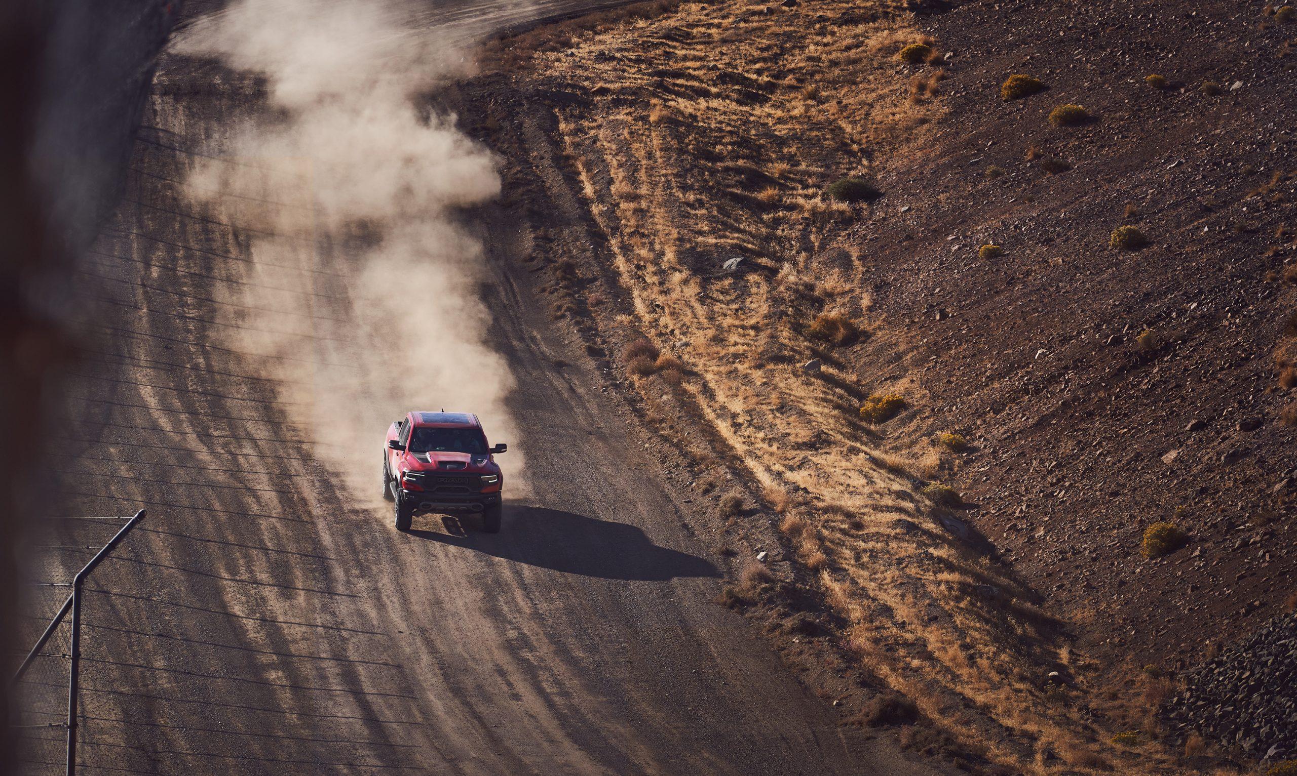 2021 Ram 1500 TRX dirt track dynamic action overhead