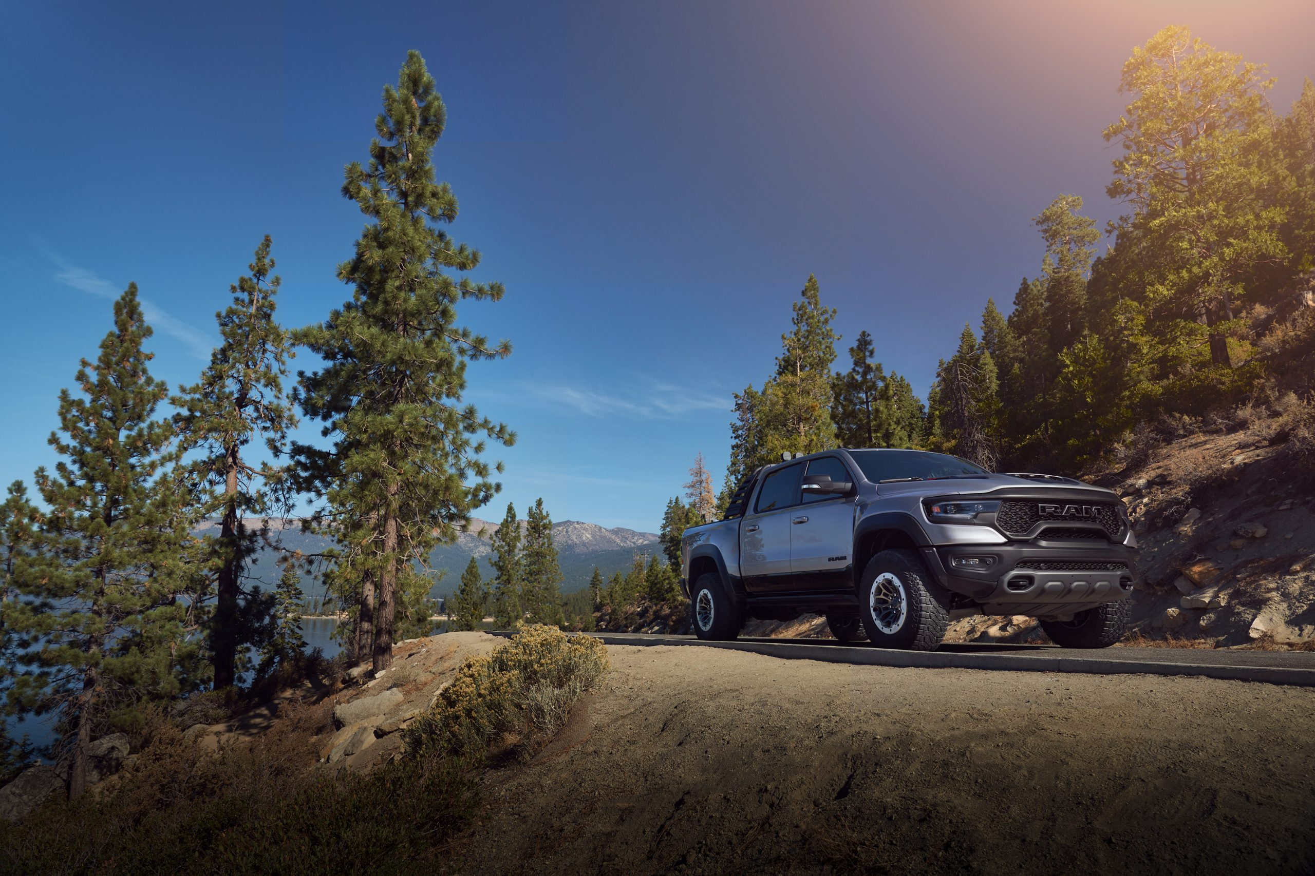 2021 Ram 1500 TRX front three-quarter mountain pass road
