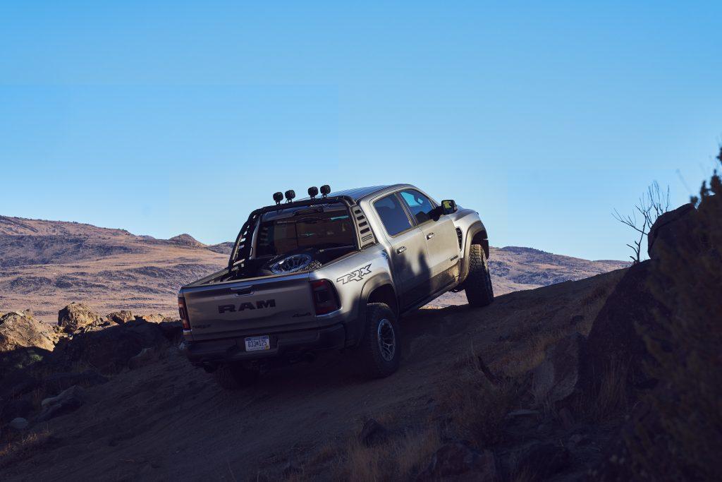 2021 Ram 1500 TRX rear three-quarter rock crawling action