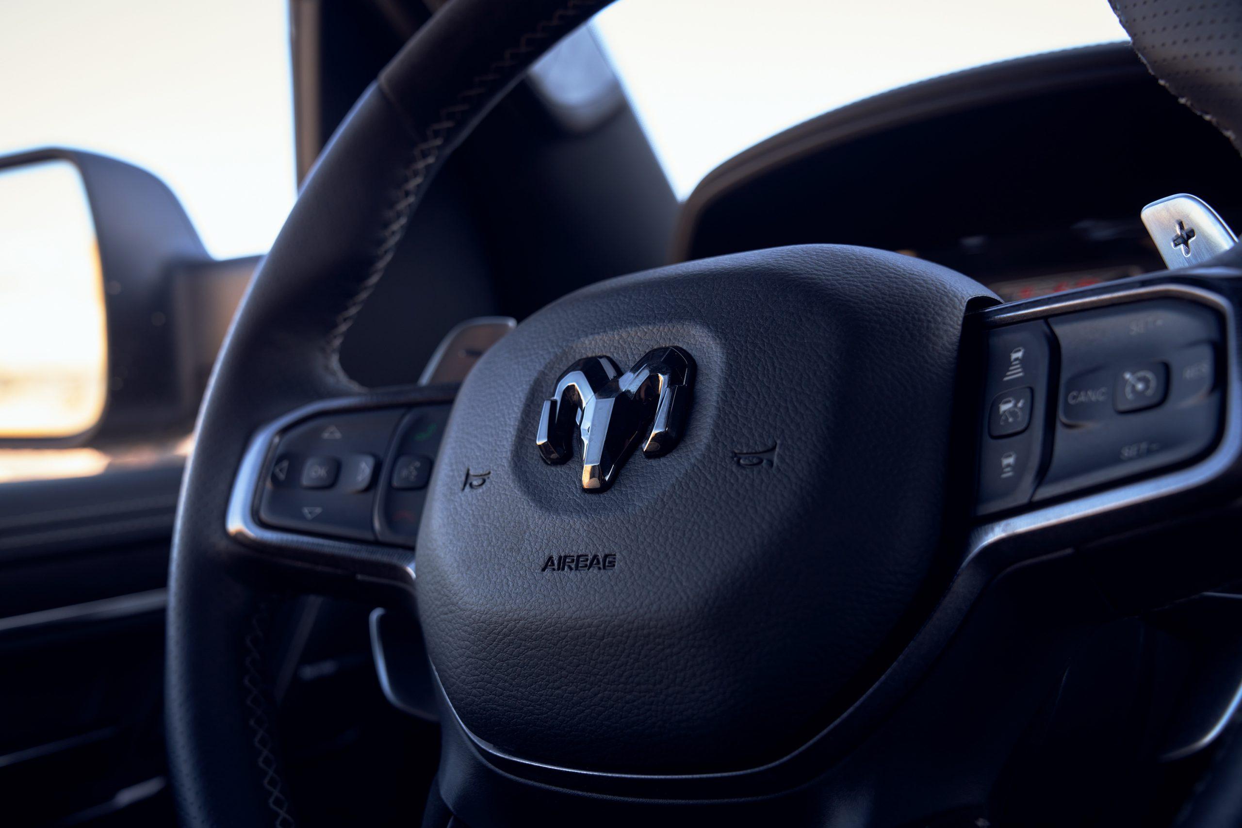 2021 Ram 1500 TRX steering wheel detail close