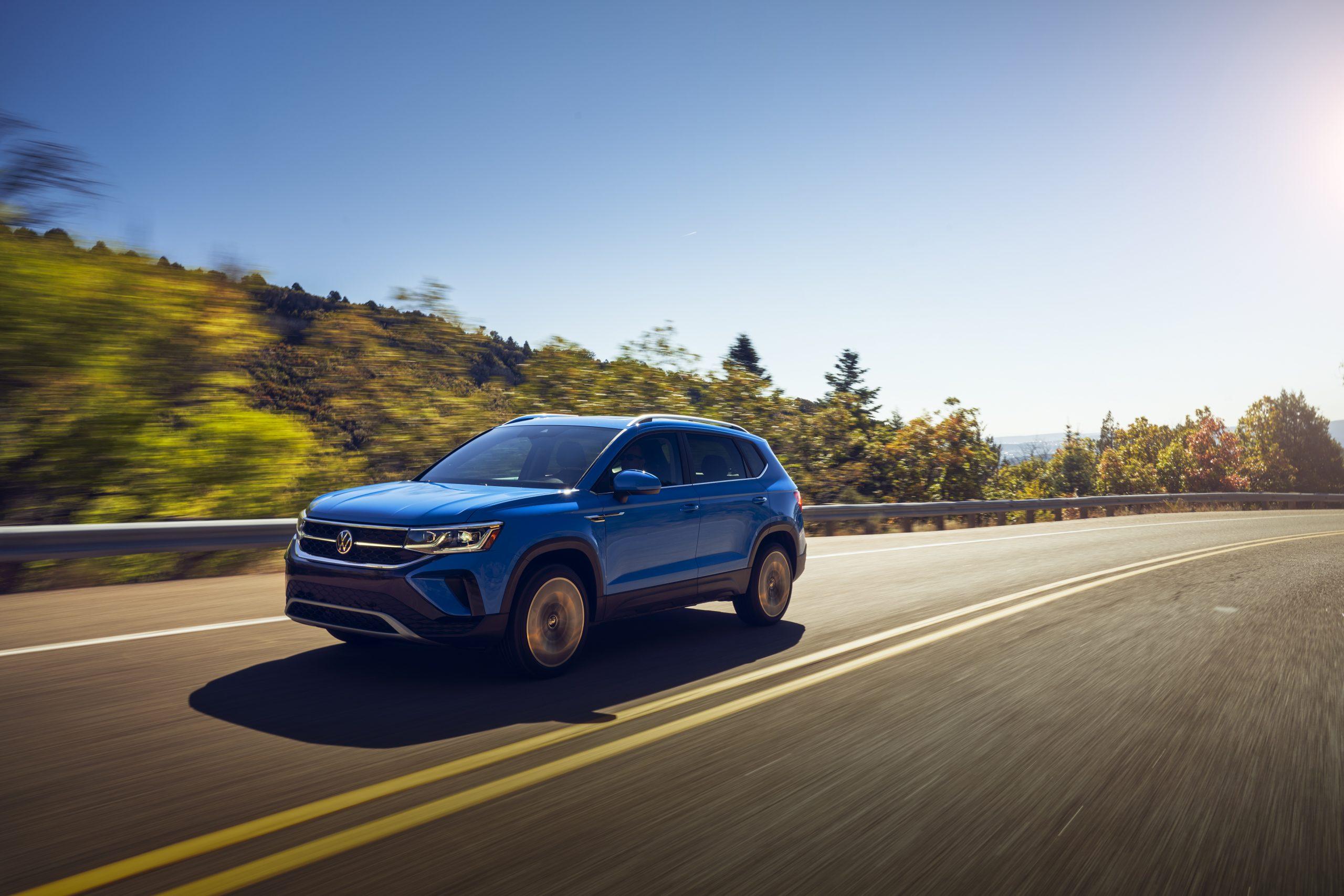 2022 Volkswagen Taos driving drives front three quarter