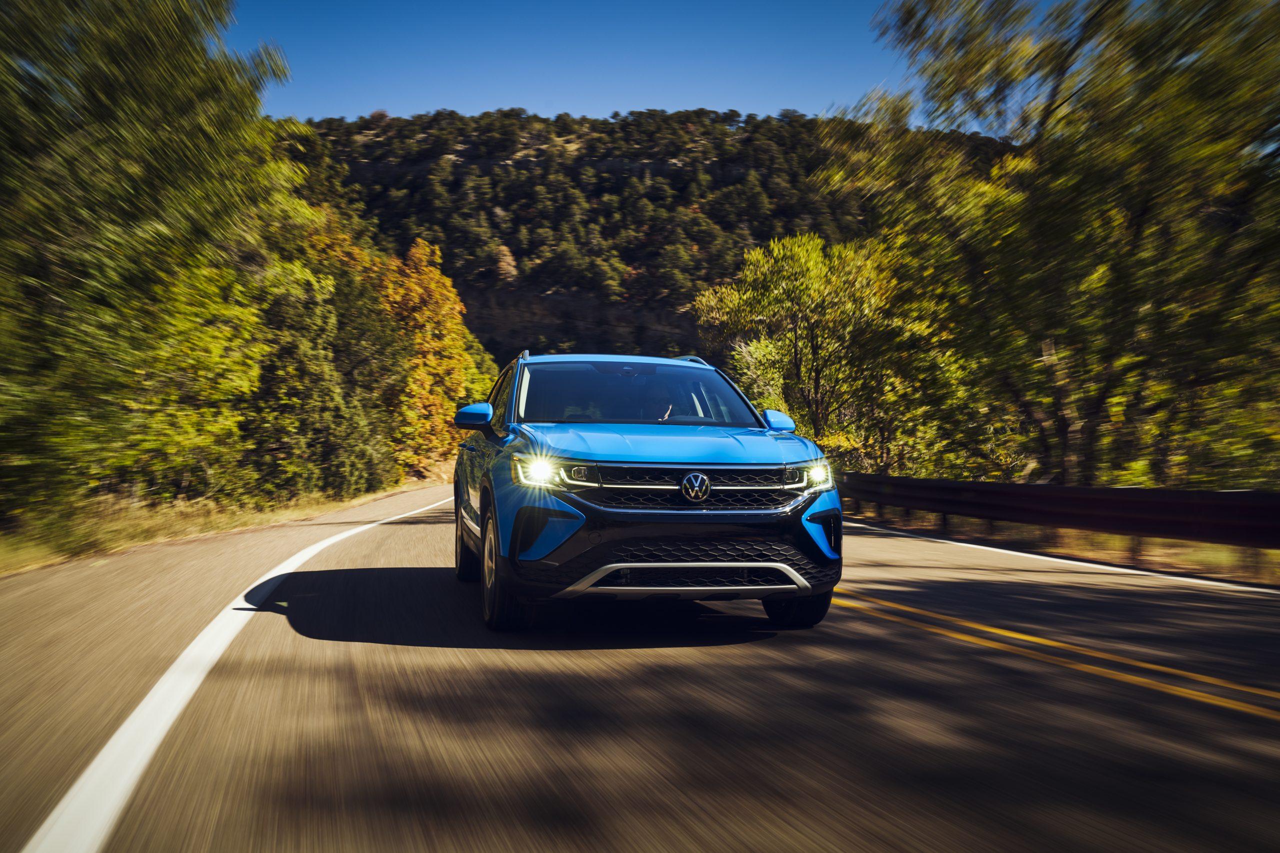 2022 Volkswagen Taos driving front three quarter