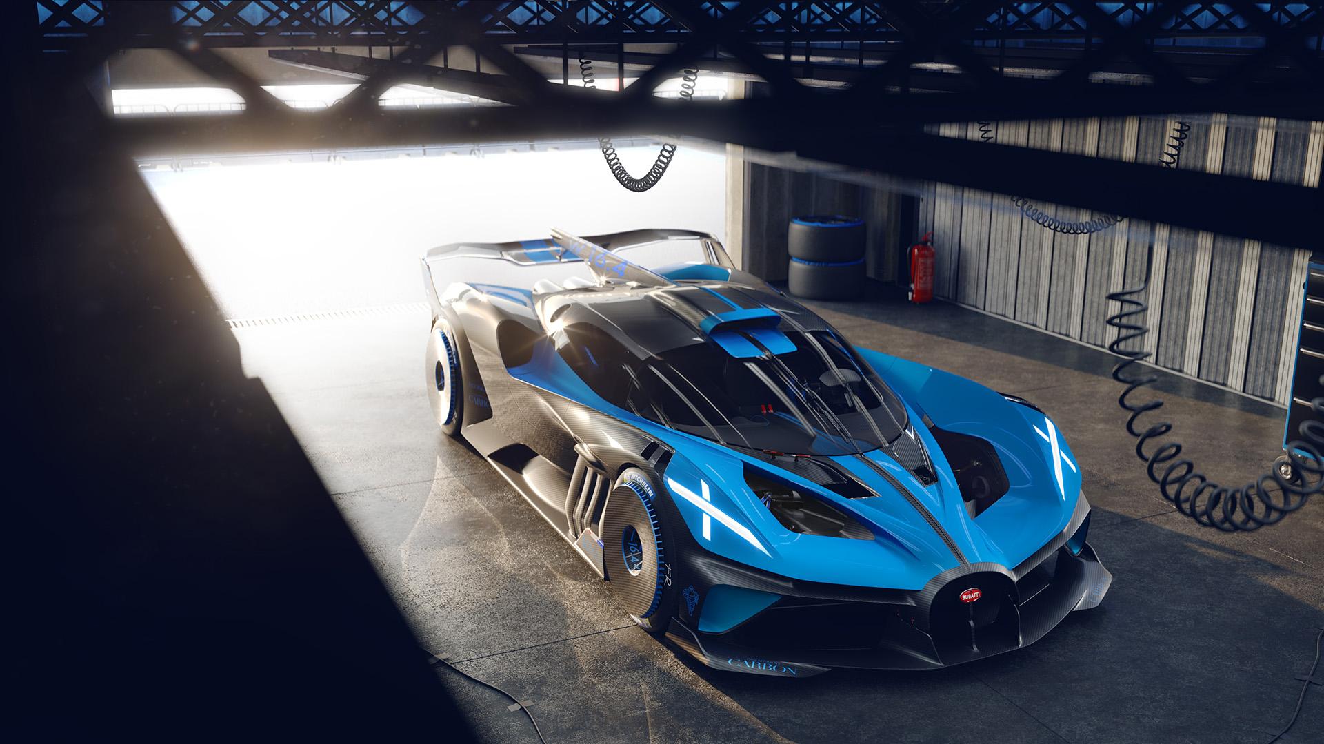 Bugatti bolide overhead front three-quarter