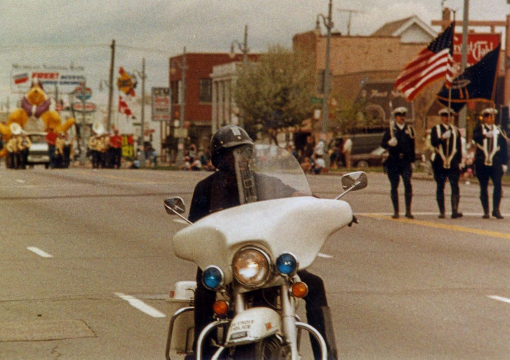 detroit soldier godfrey qualls on motorcycle as detroit police