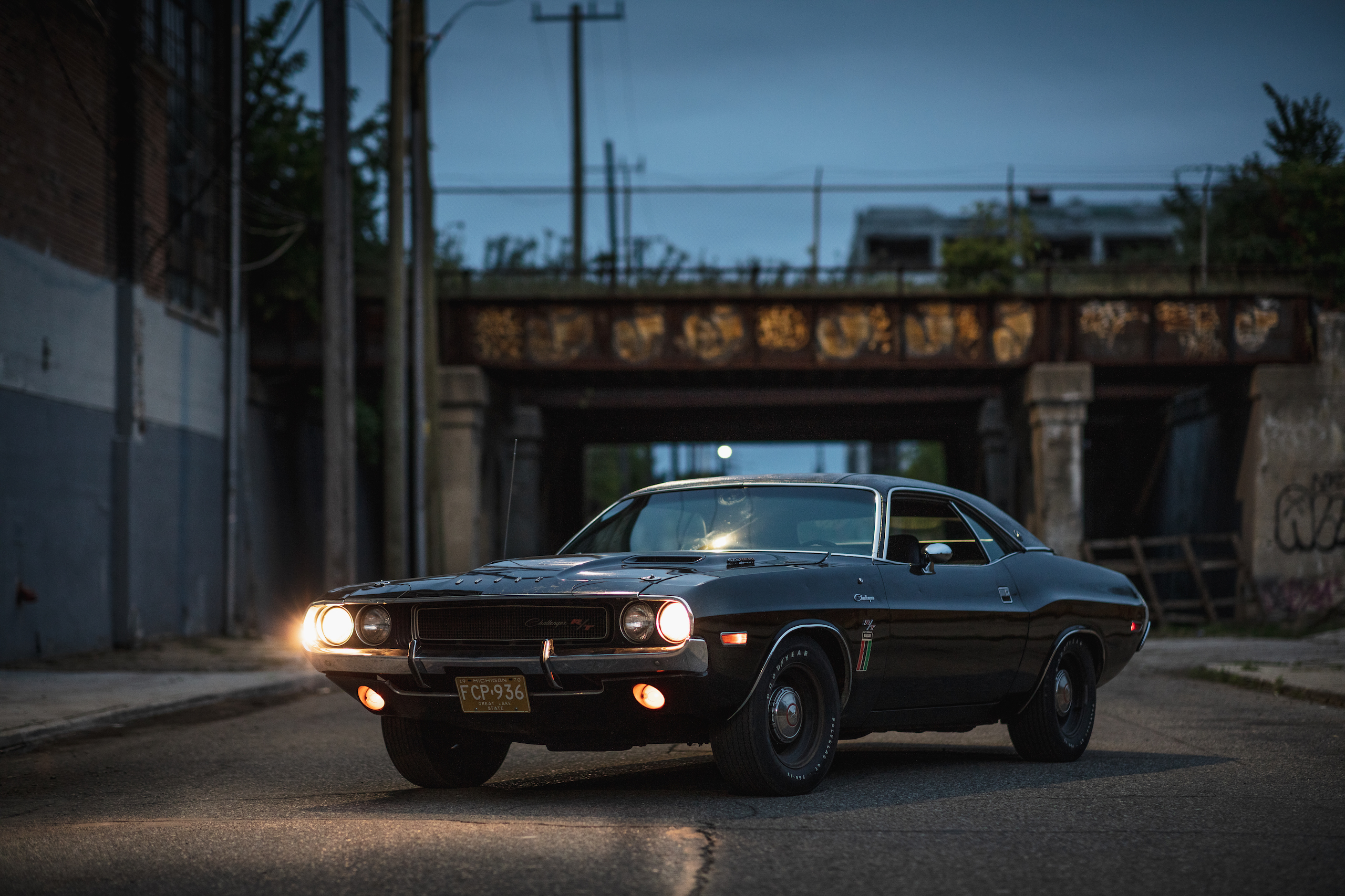 1970 Challenger front three-quarter after dusk