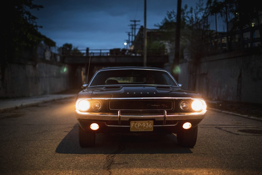 1970 Challenger front headlights at night