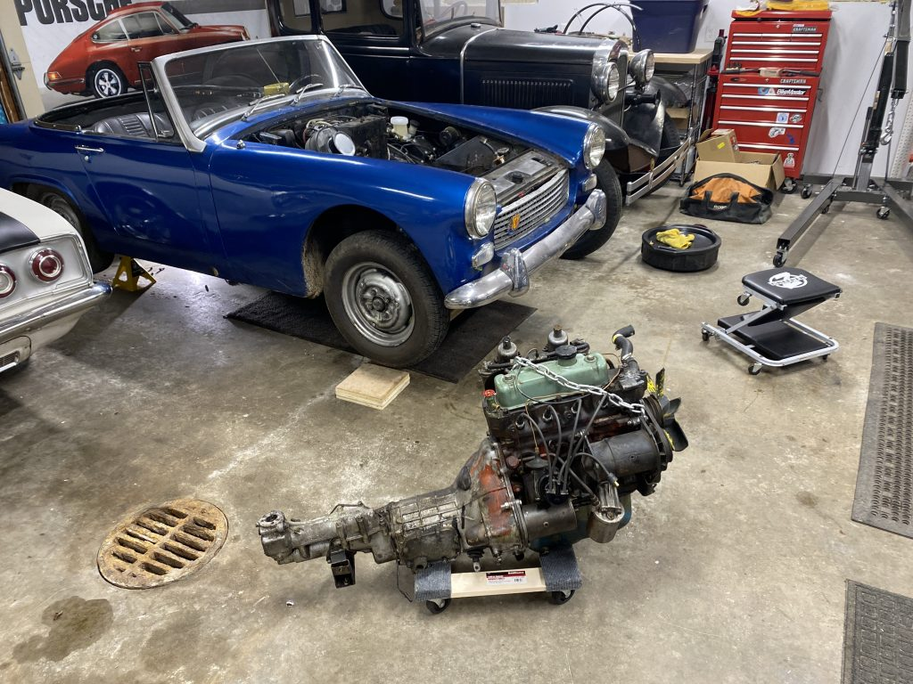Austin Healey engine on floor