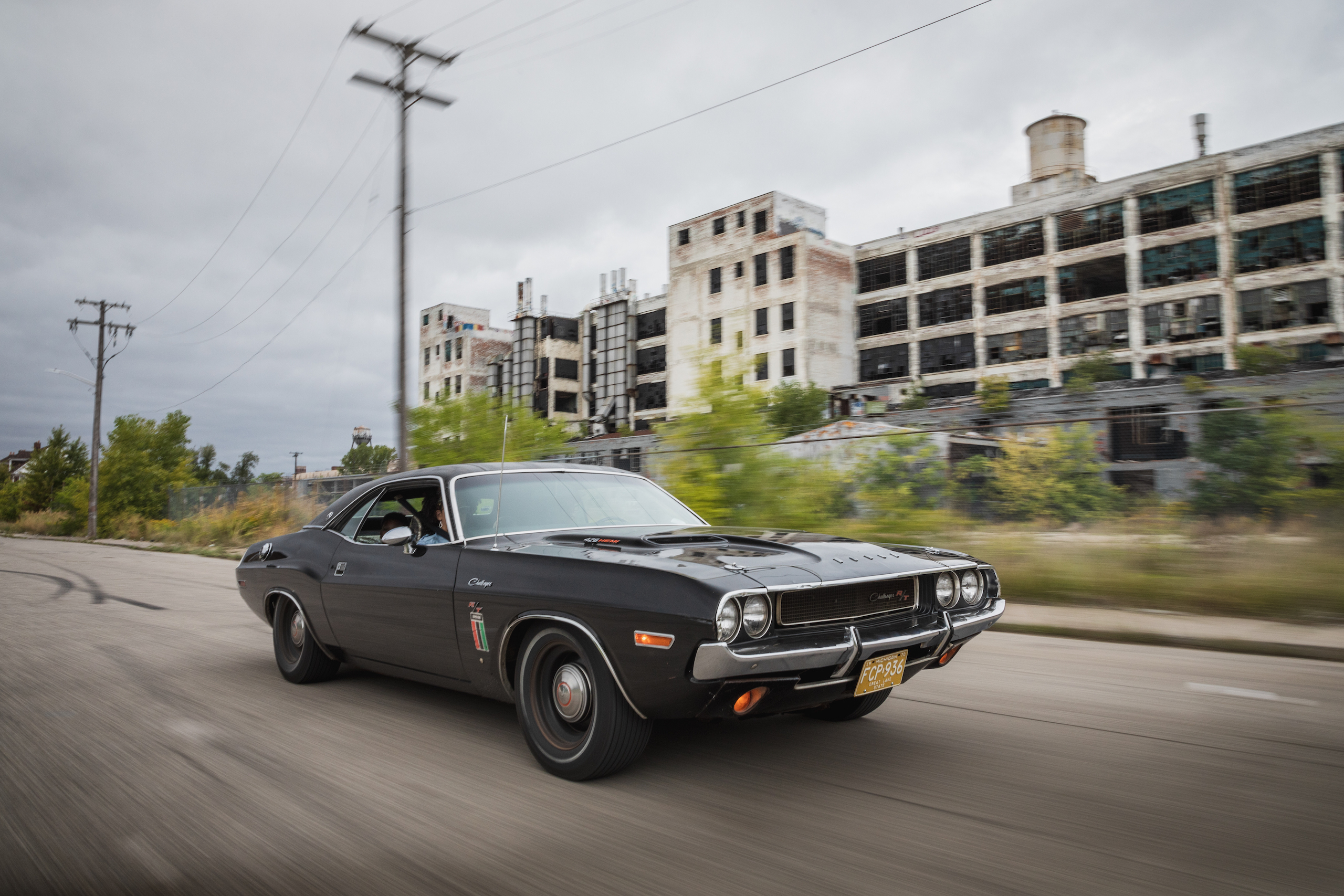 1970 Challenger front three-quarter dynamic action