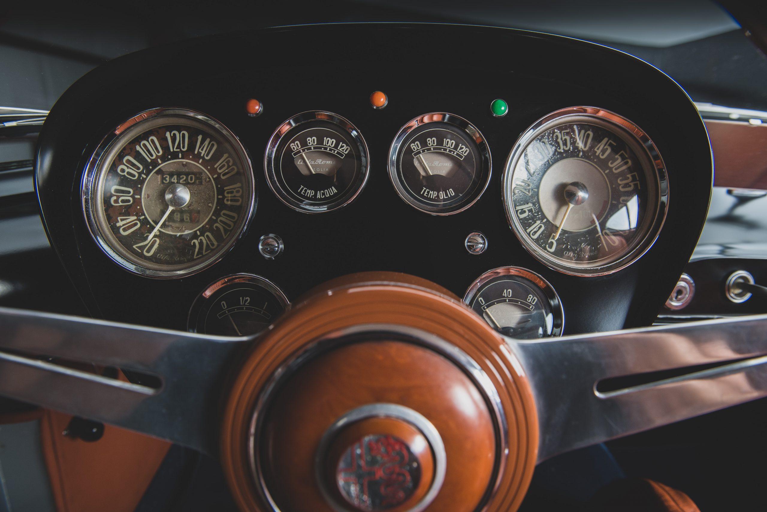 Alfa Romeo Berlina Aerodinamica Tecnica dash gauges