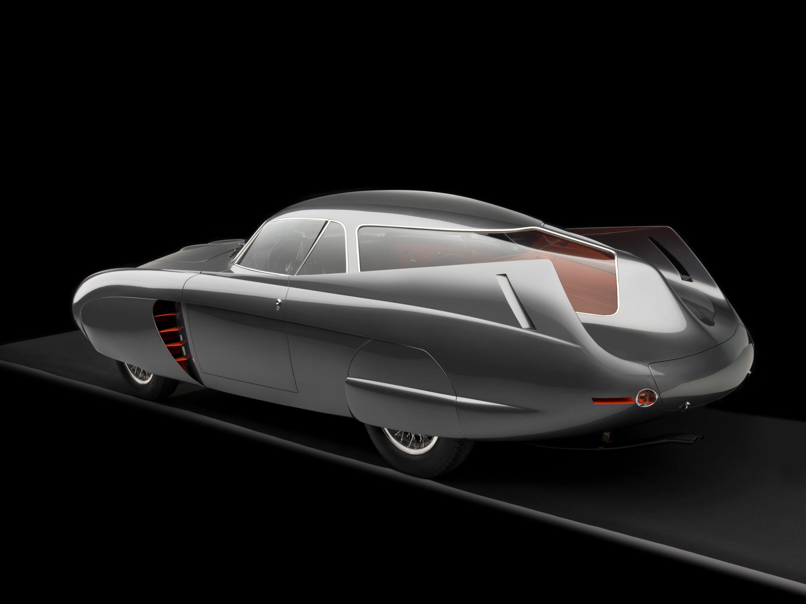1953 Alfa Romeo Bertone B.A.T 5 Gray 3/4 Rear View Studio