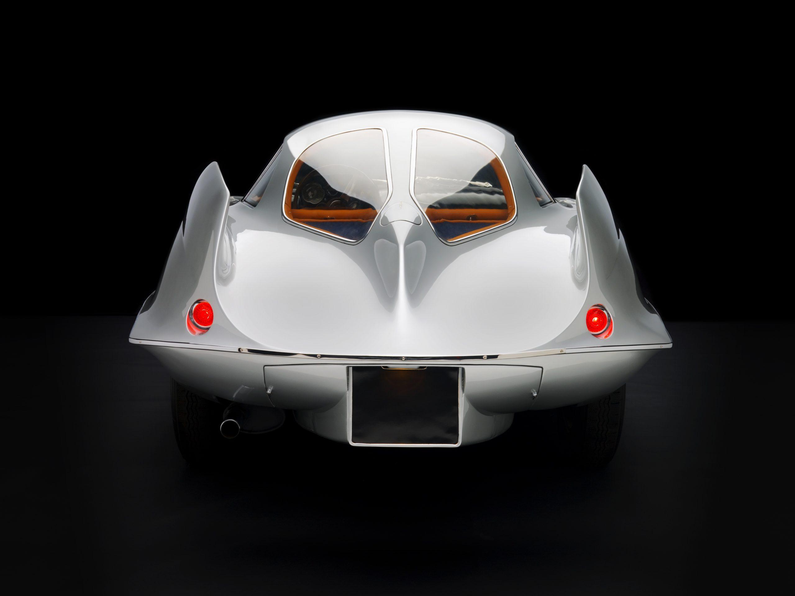 1955 Alfa Romeo Bertone B.A.T 9 Silver Rear View Studio